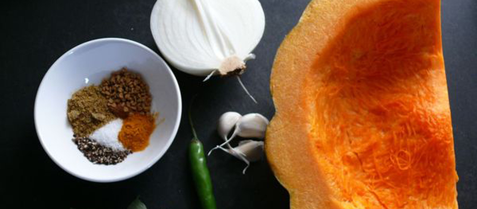 pumpkin curry, with ground coconut and mustard paste