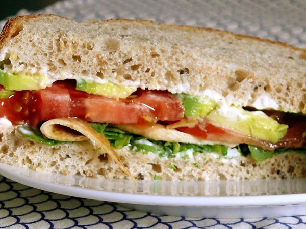 "... bite of a ""bacon"", lettuce, avocado and tomato sandwich (b.l.a.t"