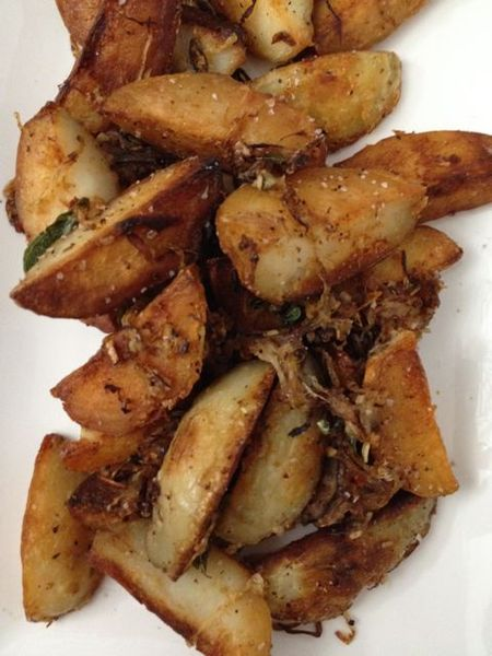 butter oyster mushrooms roasted domino potatoes spiced, fried potatoes ...